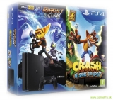 Sony PlayStation 4 Slim (PS4) 500 GB + 2 hry Crash Bandicoot a Ratchet and Clank
