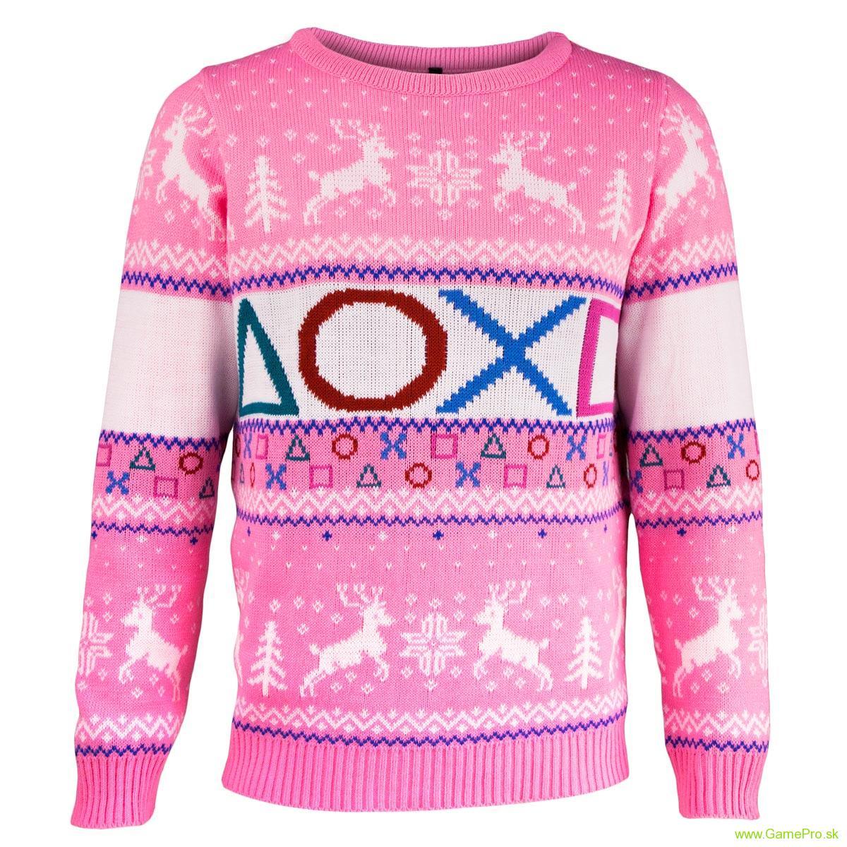 9881e3c5995c PlayStation vianočný sveter - ružový